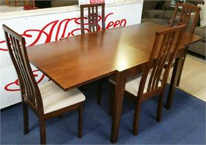 Dinette Set W Double Extension Table 4 Chairs